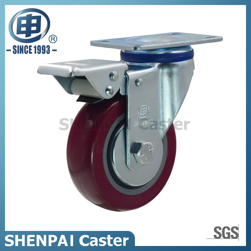 "5"" Polyurethane Threaded Stem Swivel Caster Wheel"