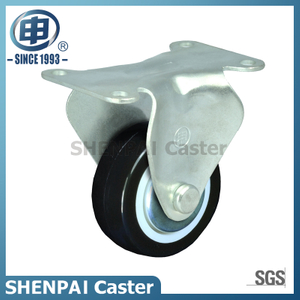 "2.5"" Black PU Fixed Caster Wheel"