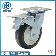 5Inch Iron core Rubber Castor Wheel swivel with brake