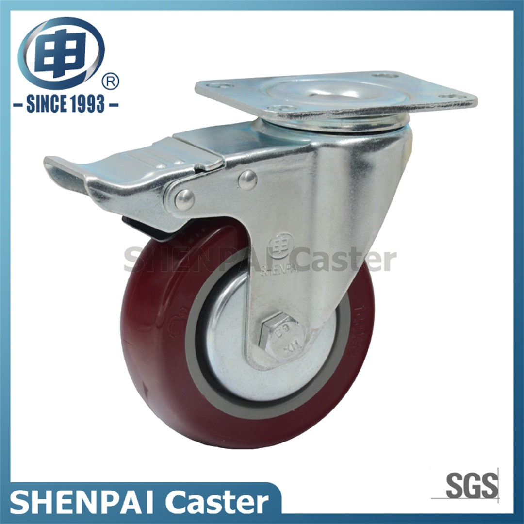 "4"" Polyurethane Threaded Stem Swivel Locking Caster Wheel"