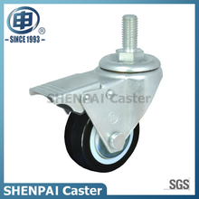 "2.5""PU Threaded Stem Swivel Locking Caster Wheel"