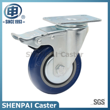 "5"" Blue Polythene Swivel Locking (A)Caster Wheel"