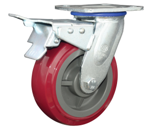 5 Inch Polyurethane Castor Wheel Swivel With Brake