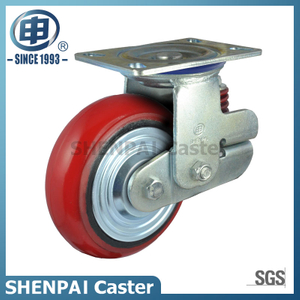 "6""Heavy Duty Single Springs PU Swivel Shockproof Caster Wheel"