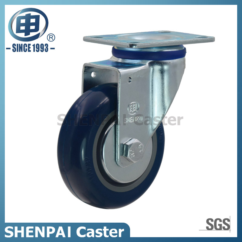 "3"" Blue Polythene Threaded Stem Swivel Brake Caster Wheel"