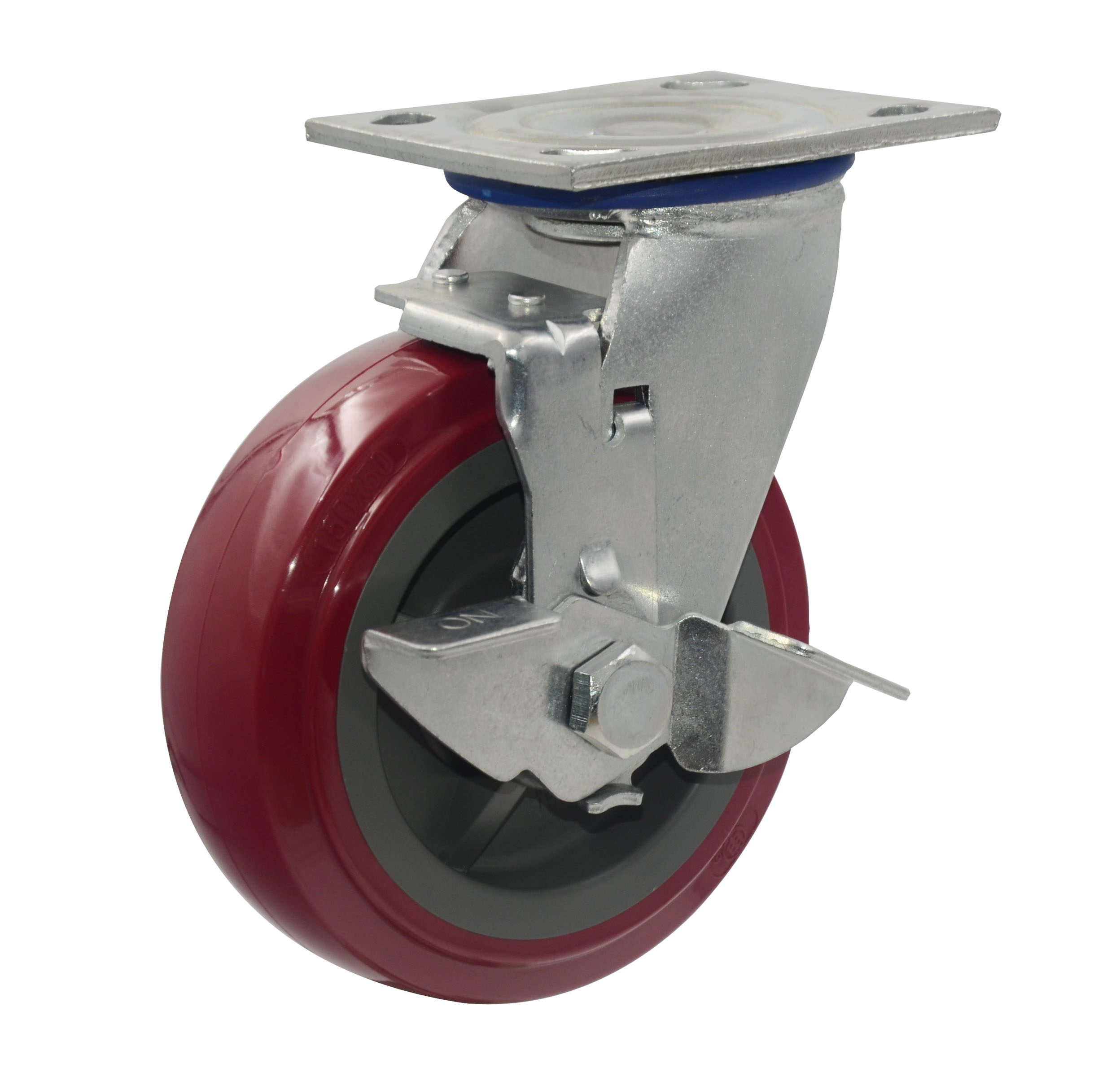 "6"" Red PU Swivel with brake Caster Wheel"